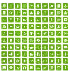 100 school years icons set grunge green vector image