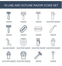 16 razor icons vector