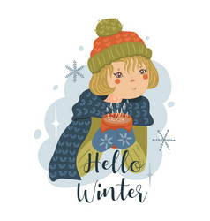 a girl in hat with mug in her hands vector image