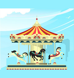 Amusement park carousel vector