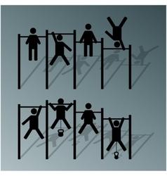 Athlete on horizontal bar vector image