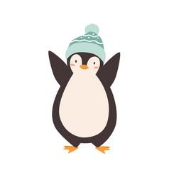 baby penguin standing in woolen colorful bobble vector image