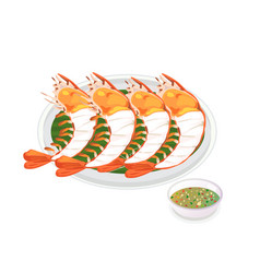 barbecued shrimp vector image