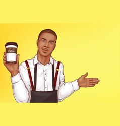 barista inviting clients to cafe pop art vector image