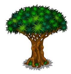 Big magic tree with energy veins cartoon vector