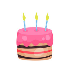 birthday cake with three burning candles vector image