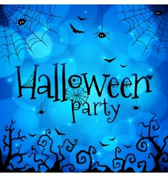 Blue halloween invitation cover template vector
