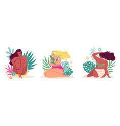 body positive ladies women in flowers sitting vector image