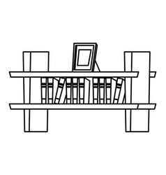 Bookshelf on wall icon black and white vector