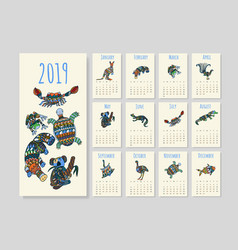 calendar with tribal australian animals for year vector image