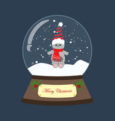 cat in christmas costume in snowball vector image