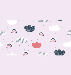 childish seamless pattern with minimalistic clouds vector image