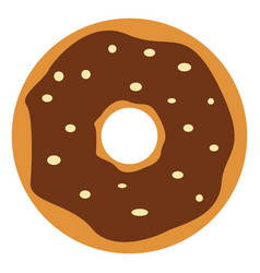 chocolate donut on white background vector image