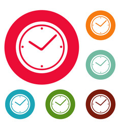 clock icons circle set vector image