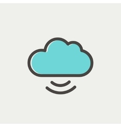 Cloud computing thin line icon vector image