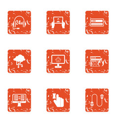 communication delivery icons set grunge style vector image