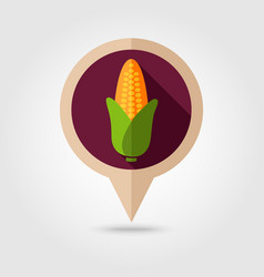Corn flat pin map icon vegetable vector