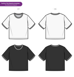 Crop top tee fashion flat technical drawing vector