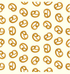 cute cartoon tasty pretzel pattern vector image