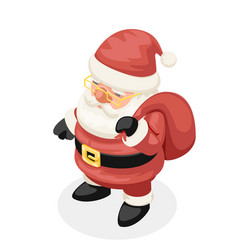 cute isometric 3d christmas santa claus new year vector image