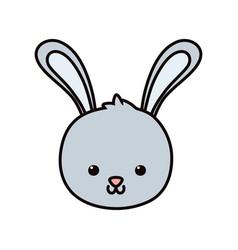 cute rabbit head cartoon icon vector image