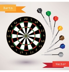 Darts Target and darts on white background vector image
