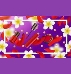 decorative cosmetics make up accessories vector image