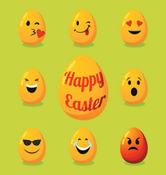 decorative smiley eggs for happy easter vector image