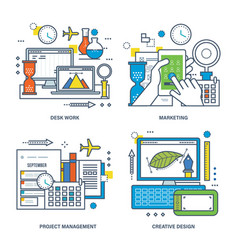 Desk work marketing creative process management vector
