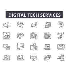 Digital tech services line icons for web and vector