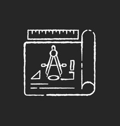 Drafting chalk white icon on black background vector
