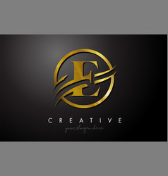 E golden letter logo design with circle swoosh vector