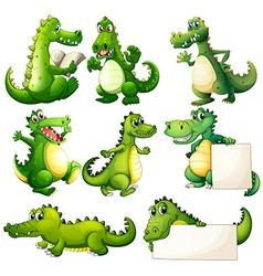 Eight scary crocodiles vector image