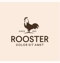 Elegant chicken cock rooster logo design retro vector