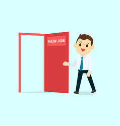 Employee walk and open red door with new job text vector