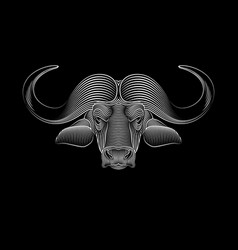 engraving stylized buffalo on black background vector image