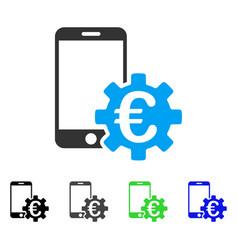 Euro mobile bank configuration flat icon vector