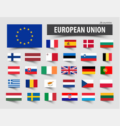 flags of european union and memberships vector image