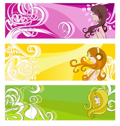 floral elements and women vector image