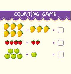 Fruit math number worksheet vector