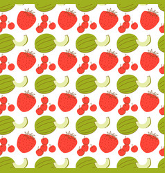 fruit pattern with coloring melon strawberry vector image