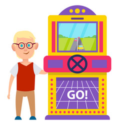 game machine with rudder man playing race vector image
