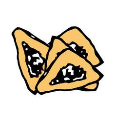 Gomentashen triangular cookies for the jewish vector