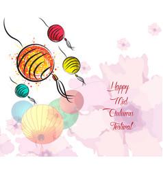 Hand drawn oriental lanterns happy mid autumn vector