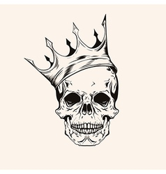 Hand drawn sketch scull with crown tattoo line art vector