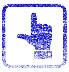 Hand pointer up framed textured icon vector