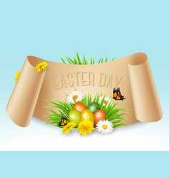 happy easter background colorful eggs on green vector image