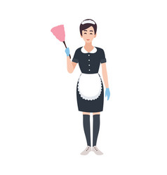 Happy housemaid maid housekeeping or house vector