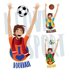 Happy sports fans vector image