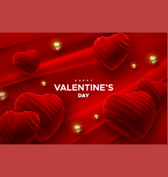 happy valentines day red velvet heart shapes vector image